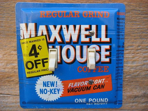 Double Switchplates For Antique  Lighting Made From Maxwell House Coffee Tins by tincansally