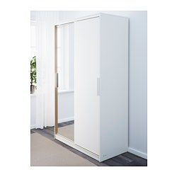 IKEA - MORVIK, Armoire-penderie, blanc/miroir