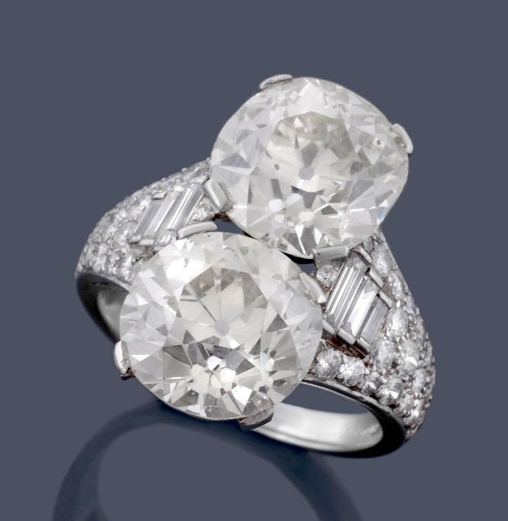 A two stone diamond Trombino ring by Bulgari, circa 1950. To be auctioned in Fine Jewellery | 26 March 2015 [Lot 567]
