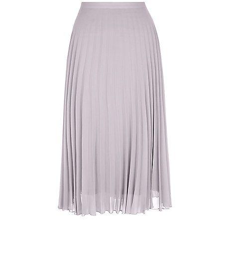 Grey Chiffon Pleated Midi Skirt    New Look