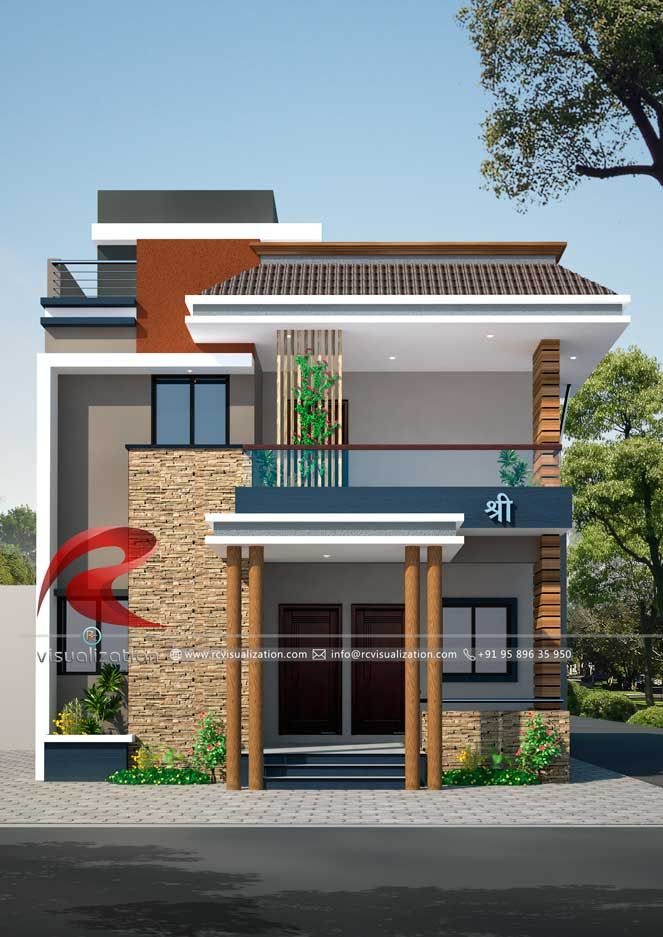 3d Narrow House Designs Gallery Rc Visualization Structural Plan And Elevation Design Narrow House Designs Small House Elevation Design Small House Elevation