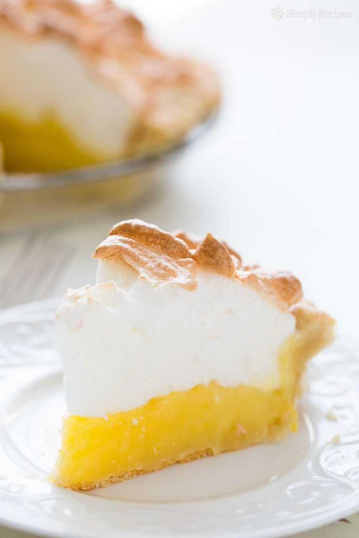 Mile high lemon meringue pie! Tart and creamy lemon custard filling with a billowy meringue top.