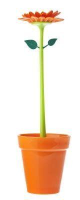 Vigar Flaschenbürste Geranie im stylischen Blumentopf pink, orange oder gelb