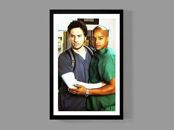 Scrubs TV Show Poster  JD & Turk Print  Digital Oil Painting