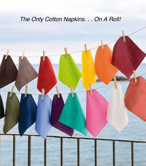 This is so cool!  Cotton napkins... on a roll. (seen on @NBC )