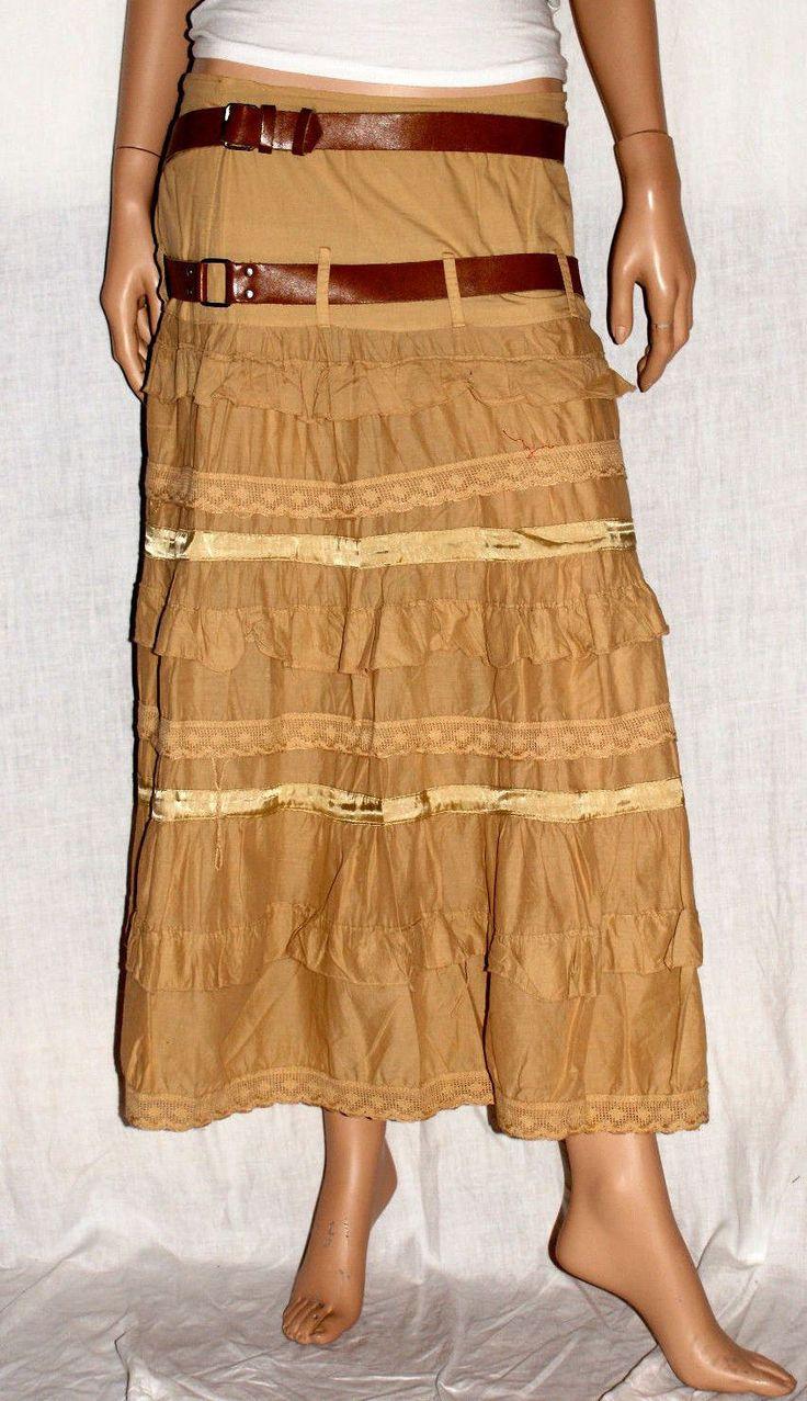 Gorgeous Flounces Cotton Skirt Satin Size M Branded EXTASY Maxi Gonna Lunga a Balze Beige Stile Hippy Boho Cotone Elasticizzato Taglia M di BeHappieWorld su Etsy