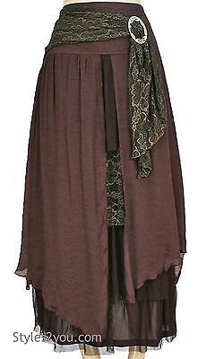 NWT Pretty Angel Clothing Vintage Victorian Antique Belted Skirt In Coffee 27114
