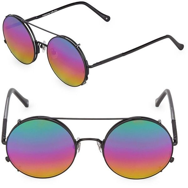 Sunday Somewhere Women's 53MM Valentine Multicoloured Round Sunglasses ($80) ❤ liked on Polyvore featuring accessories, eyewear, sunglasses, no color, mirrored lens sunglasses, round metal frame sunglasses, metal sunglasses, round metal sunglasses and lens glasses