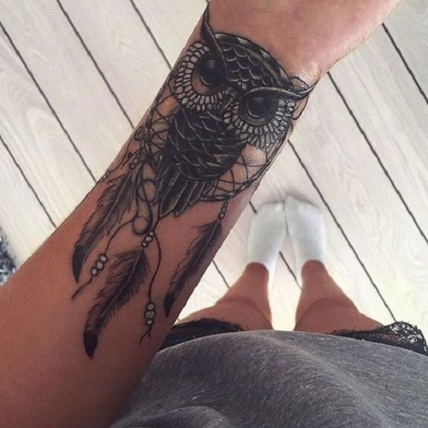 owl-inspired-dream-catcher - 50 Dreamcatcher Tattoo Designs for Women <3…