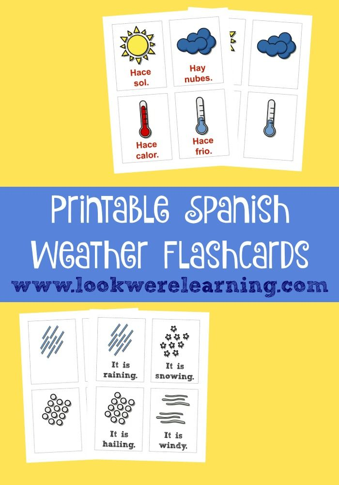 Learn how to use common weather expressions in Spanish with these Spanish weather flashcards!