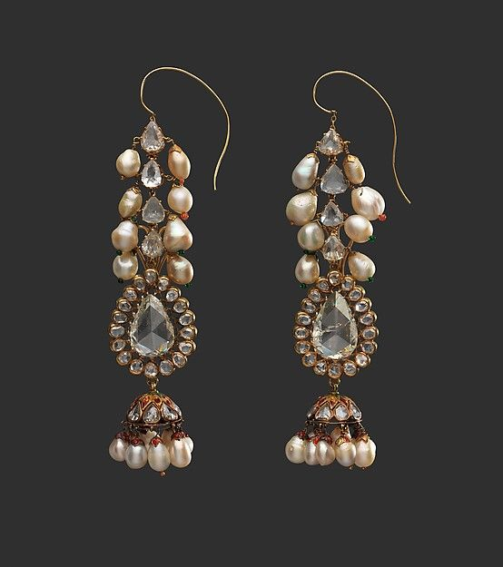Diamond Earrings and Pearl Supports. Diamond earrings and pearl supports, late 18th century. India, Deccan, Hyderabad. Islamic. Diamond, pearls, gold, emeralds, and enamel. Private Collection, New York