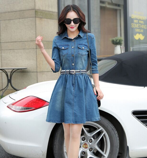 New Style Long Denim Shirt Women Long Sleeve Pocket Dress Shirts Elegant Top Ladies Sexy Fashion Tee