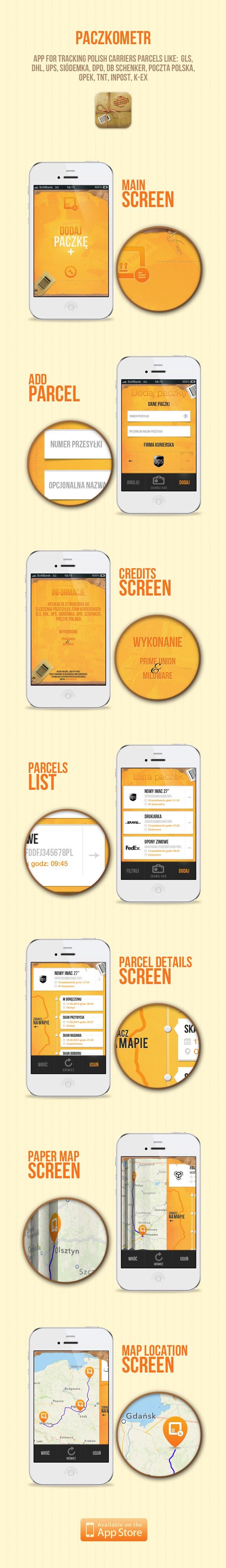 Paczkometr app by Lukasz Sokol, via Behance