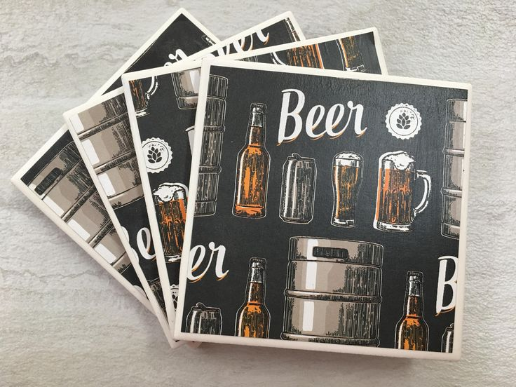 Beer Coasters, Beer Gift, Man Cave Decor, Man Cave Gift, Tile Coasters Coasters, Beer Decor, Drinks Coasters, Man Gift, Beer Lover Gift by JulesfortheHome on Etsy