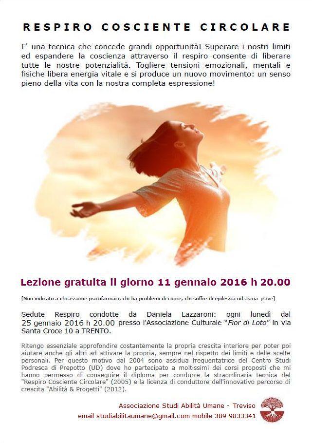 RESPIRO COSCIENTE CIRCOLARE A TRENTO LUNEDI' 11 GENNAIO 2016 ORE 20.00 - STUDI ABILITA' UMANE