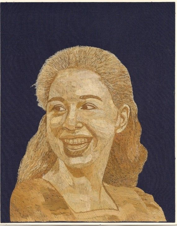 CAN U BELIEVE IT is made of rice leaves?  Chelse Clinton Rice straw art Portrait Original leaf by museumshop, $89.00
