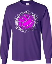 this long sleeve volleyball t shirt features a popular design with standout colors - Volleyball T Shirt Design Ideas