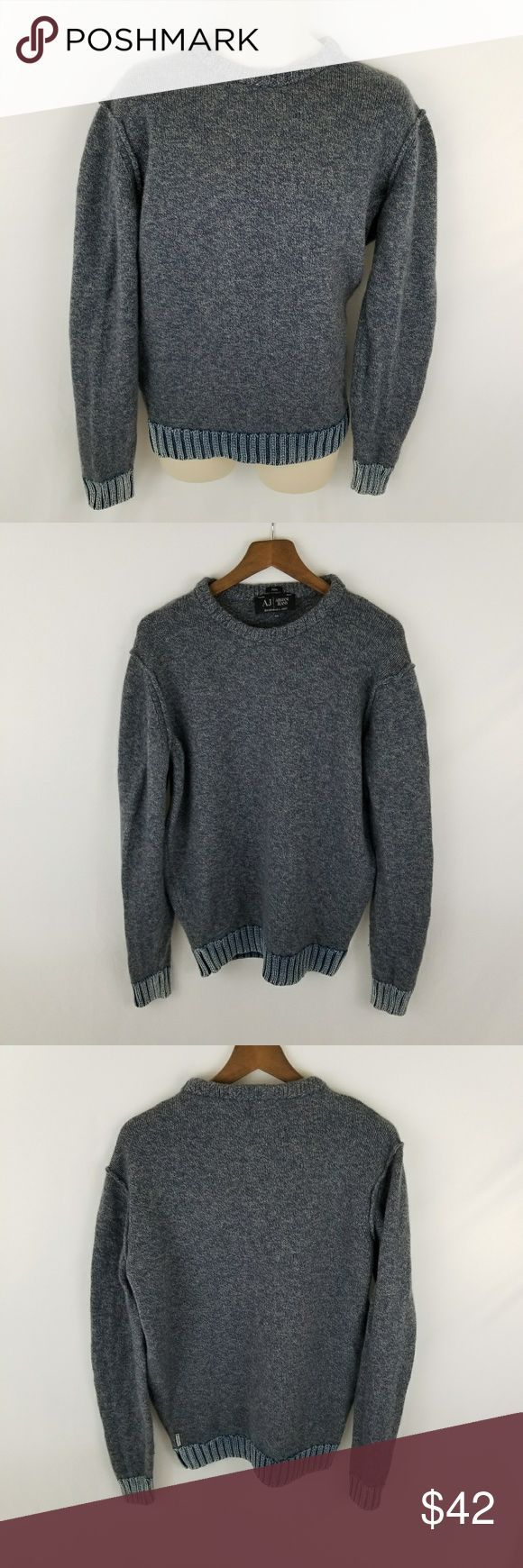 """Armani jeans men's size 3XL slim sweater Armani Jeans AJ Mens Size 3XL Slim Blue Crew Neck Wool Sweater 100% Authentic  Preowned   80% Lana Wool 20% Poliammide   Armpit to Armpit - 23.5""""  Length - 28.5"""" Armani Jeans Sweaters Crewneck"""