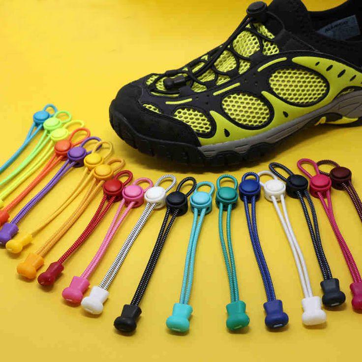 Cordones de Los zapatos 1 Par Unsiex Mujer Hombre Elástico No Tie Bloqueo cordones de los zapatos Del Cordón Zapatos Para Hombre Mujer de la Aptitud Deportiva de Bloqueo Cordón de la Zapatilla de deporte
