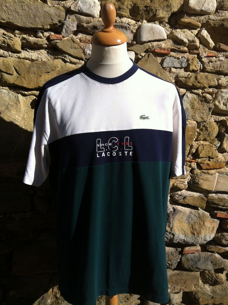 One of three rare LCL Lacoste pieces. This tee is complete with a Forrest Green split sectioning, heavy corded thread and super neat embroidery work to chest No