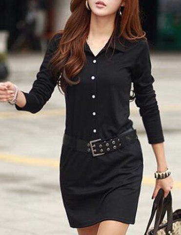 Casual Turn-Down Colllar Solid Color Long Sleeve Women's DressCasual Dresses | RoseGal.com