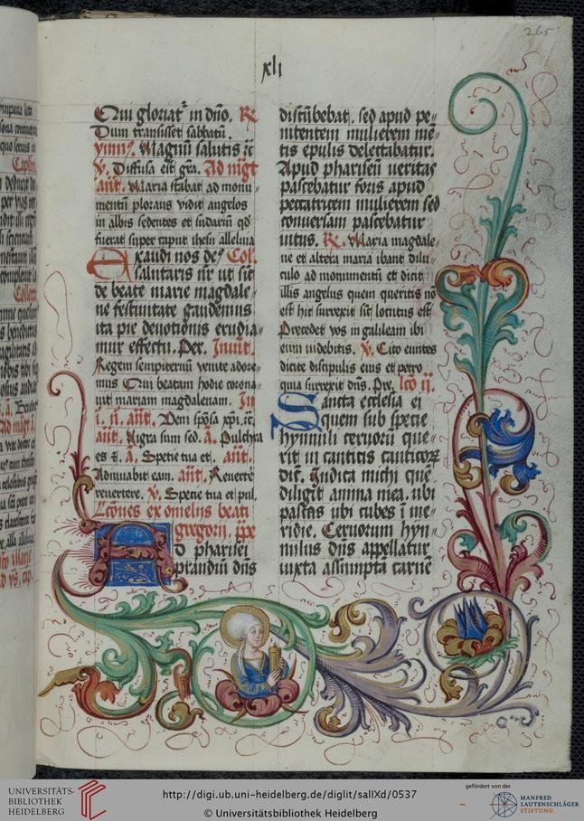 Cod. Sal. IXd Salemer Abtsbrevier II (Sommerteil) — Salem, 1494/1495 Page: 265r Citation link: i http://digi.ub.uni-heidelberg.de/diglit/salIXd/0537