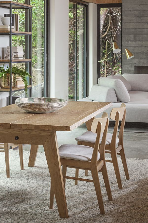 Natural oak finishes keep this space feeling