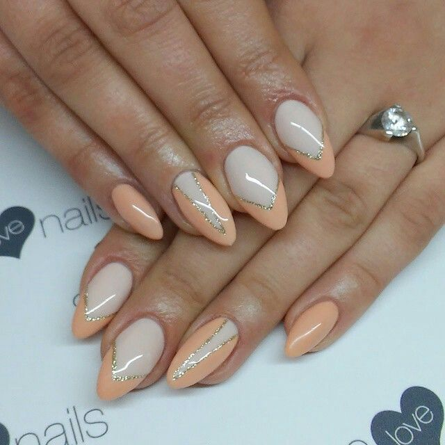 SPN UV LaQ 578 Creame Puff! 623 Apricot Mousse, 628 Golden Eye. Nails by Alicja Koziolek #spnnails #uvlaq #uvgel #paznokcie #nails