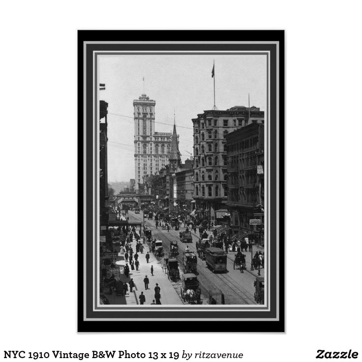 Nyc 1910 vintage bw photo 13 x 19 poster