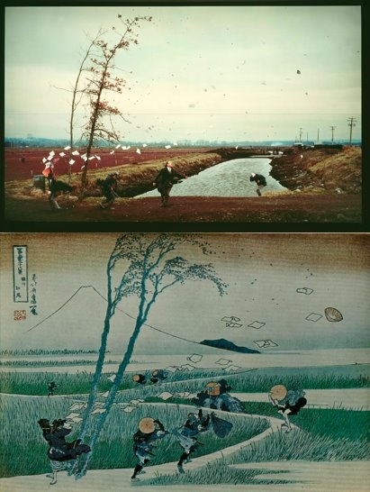 Jeff Wall's homage to Hokusai, 'A Sudden Gust of Wind