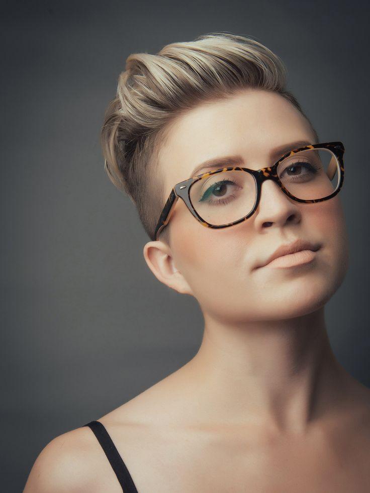Women's hi-top fade haircut, blonde highlights