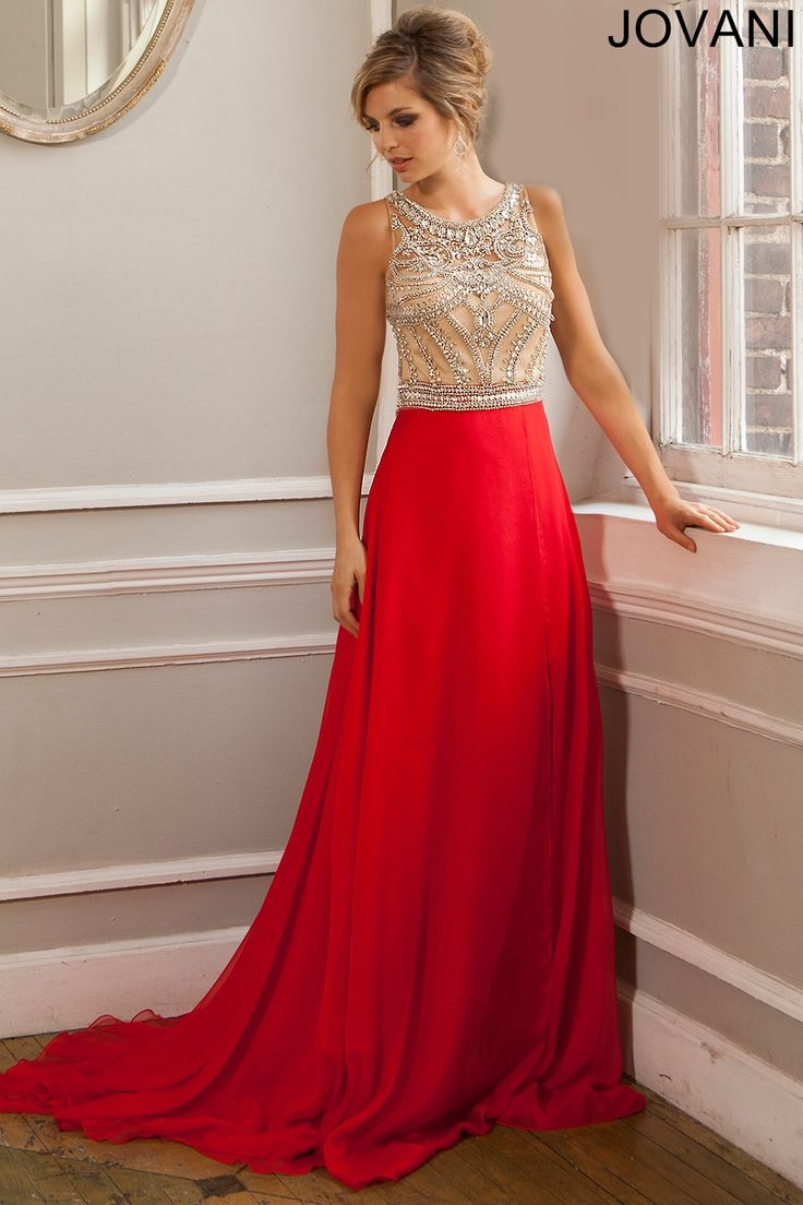 Red Sleeveless Chiffon Dress 22625