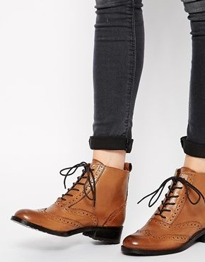 Enlarge Bertie Peron Brogue Flat Lace Up Boots