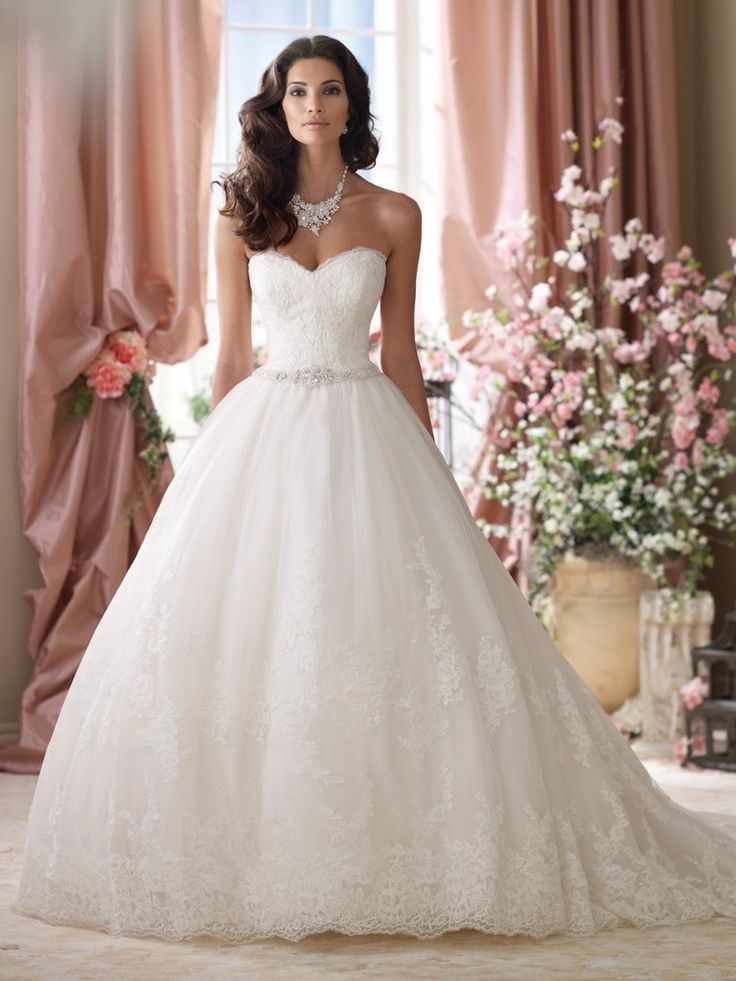 low cost wedding dresses in atlantga%0A Lace  u     Tulle Strapless Sweetheart Ballgown with Scalloped Hemline  u      Detachable Straps