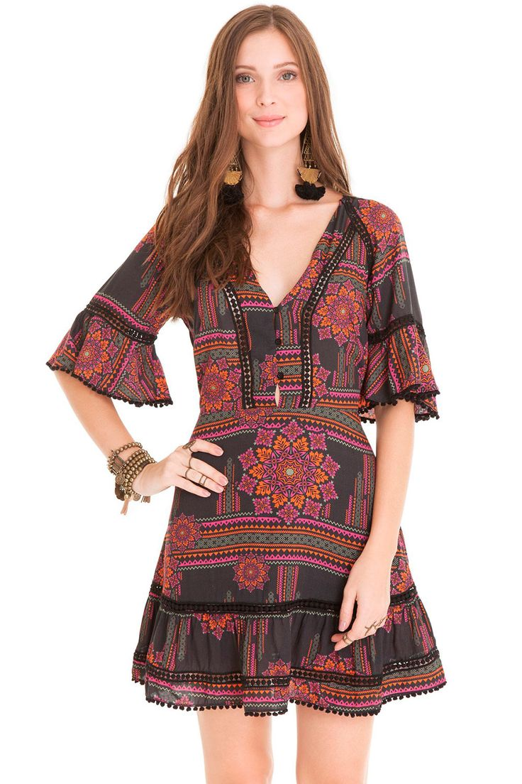 Vestido Entremeio Nativo Color Dress To - BabadoTop