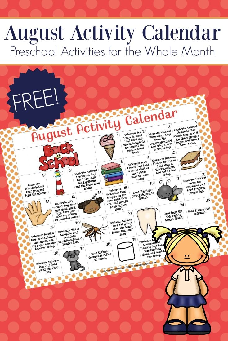 free printable preschool activity calendar for august homeschool rh pinterest com