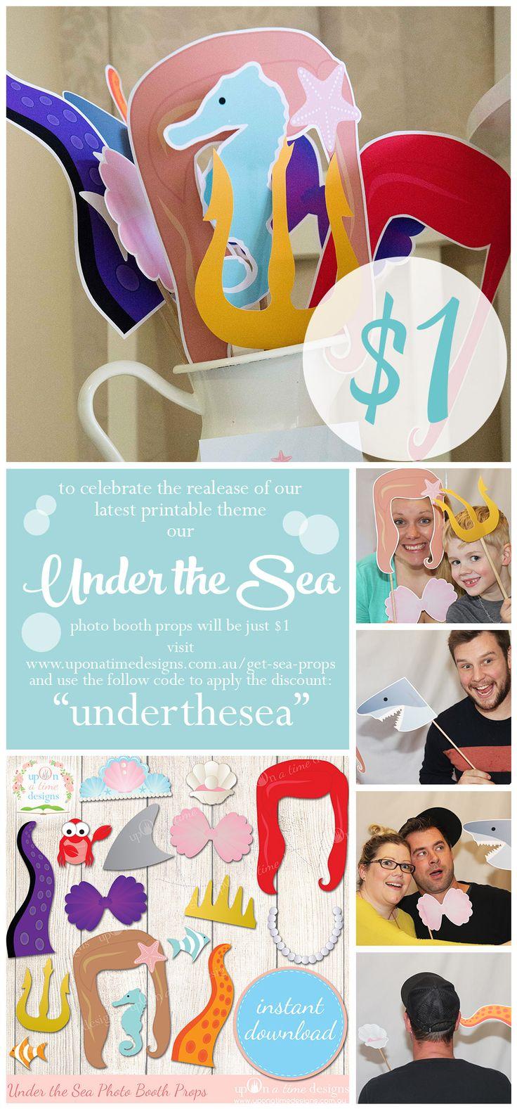 wedding photo booth props printable%0A    printable Under the Sea Mermaid Photo Booth Props  Mermaid party ideas