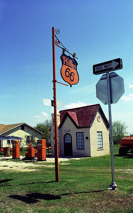"""Route 66 - Phillips 66 Gas Station. Restored """"Cottage Style"""" Phillips 66 gas station in McLean, TX along old Rt. 66. Complete with vintage pumps. """"The Fine Art Photography of Frank Romeo."""""""