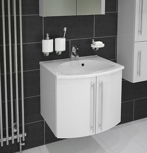 Scope - The Scope 600 in White Gloss. Not only do these stylish bathroom units look great, they provide plenty of storage and ensure maximum floor space.