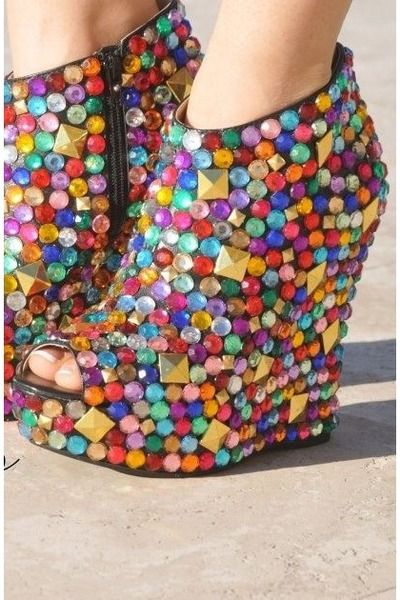 rhinestone heels. #color