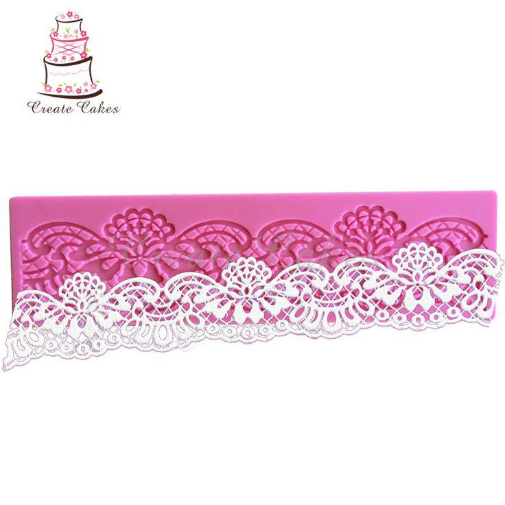 Perbatasan Dekorasi Renda Cetakan Bunga Bentuk Renda Tikar Fondant Cake Decorating Alat Silicone Gula Renda Pad Baking Alat LM-70