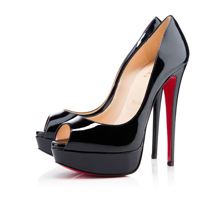 """By Christian Louboutin Christian once said that a """"shoe has so much more to offer than just to walk,"""" and our beautiful black patent leather """"Lady Peep"""" gives you just that."""