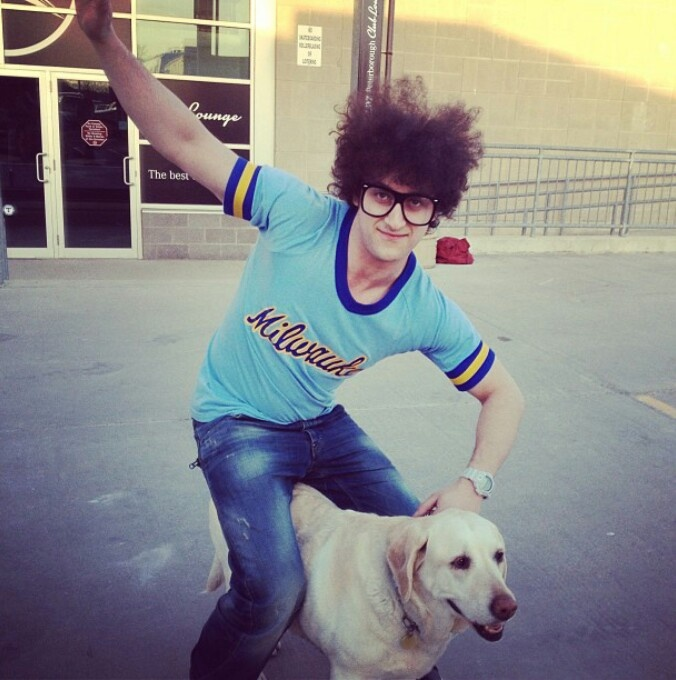 Marty Martino (Down With Webster) takes a ride on Tyler's dog, Stella. I really with I was the dog at this point.