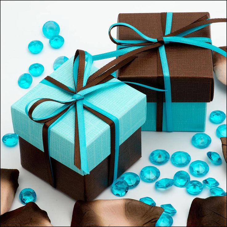 wedding favors ideas do it yourself%0A Twotone Favour Boxes  Celeste Blue Silk Brown Silk  Pk  Find this Pin and  more on Make your Own Wedding Favours