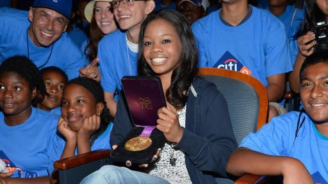 London 2012 Olympic games gold medalist Gabby Douglas visits Citi Field on August 23, 2012 in New York City.