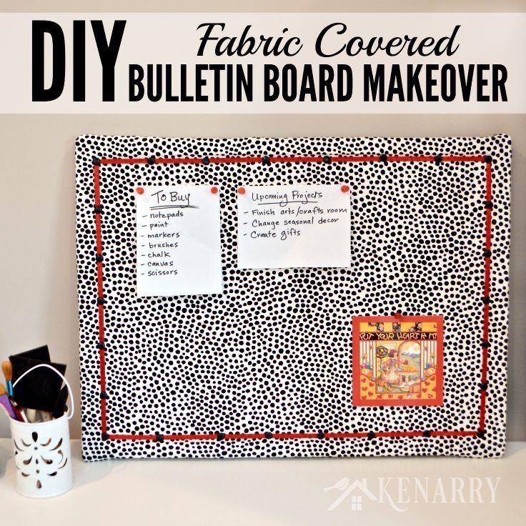 Diy bulletin board makeover how to cover in fabric for Diy fabric bulletin board ideas