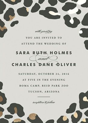 Do you know a bride with a thing for leopard print? We've got her perfect invitation! On The Wild Side Foil-Pressed Wedding Invitation from Minted.