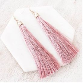 The Simplice Tassel Earrings in Rose - Available now at www.tealandtala.com.au