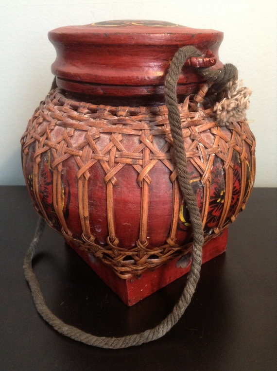 Hand Painted Woven Thai Bamboo Lacquered Rice Basket