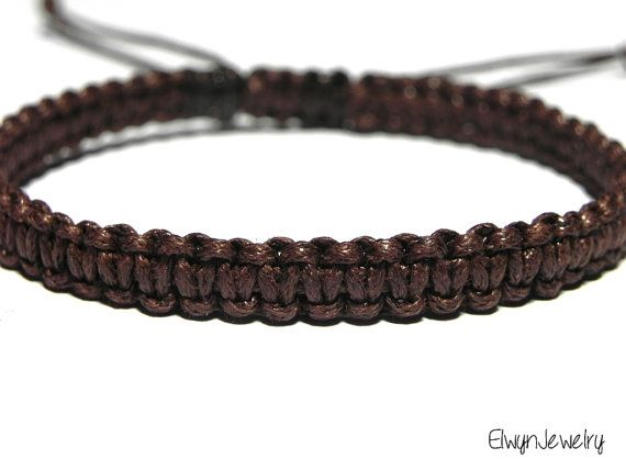 Ready To Ship Brown Bracelet Men S Cord Rope Macrame Jewelry Gift For Man Husband Elwyn